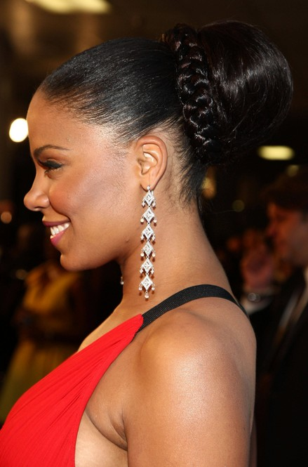 Side View of Sanaa Lathan Braided Bun for Prom