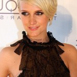 Ashlee Simpson Short Blonde Haircut with Side Swept Bangs
