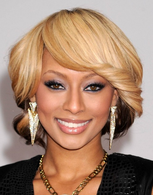 Keri Hilson short blonde faux bob hairstyle with side swept bangs for thick hair