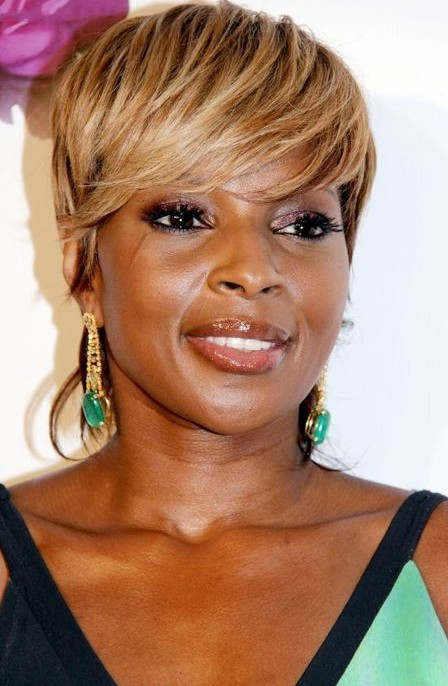 Mary J. Blige short pixie haircut with side swept bangs for black women over 40