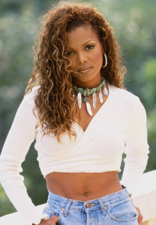 Janet Jacksons Hairstyle Casual Curly Long Hairstyle