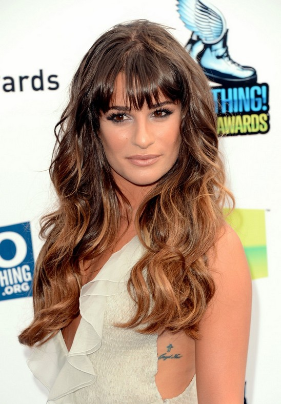 Celebrity Long Ombre Hairstyle: Wavy Hair with Bangs - Lea Michele's Long Hairstyle
