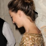 Casual topnot updo hair style for women - Olivia Wilde hairstyles