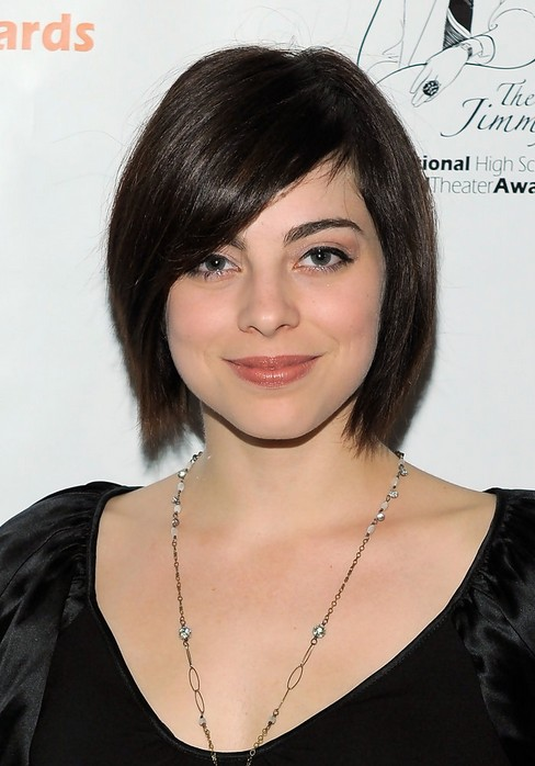 Short Black Straight Bob Haircut with Side Sweep Bangs - Krysta Rodriguez Haircuts