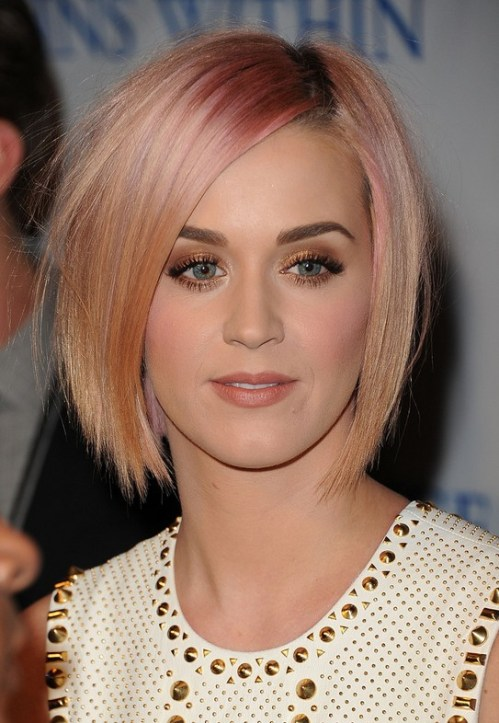Short Haircut for 2014: Katy Perry's Pink Haircut - Short Straight Bob Hairstyle