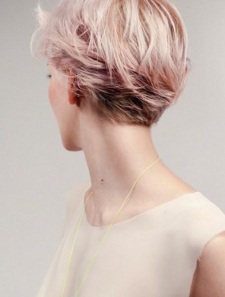 Pink Short Hairstyle  - Back View of Layered Short Haircut