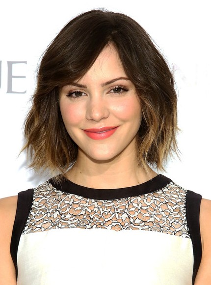 Katharine McPhee Short Ombre Hairstyles  - Layered Bob Cut with Bangs