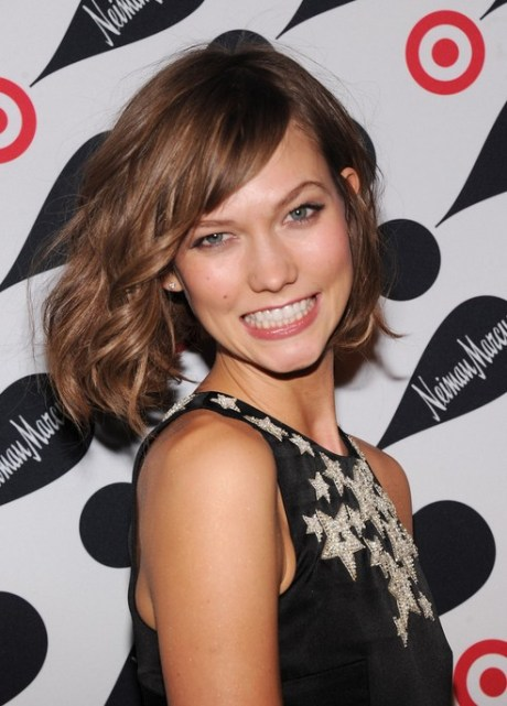 Karlie Kloss Short Wavy Bob Hairstyle with Bangs for 2015