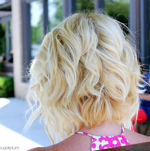 Angled Piecey Bob haircut - Back View of Short Wavy Bob Hairstyle