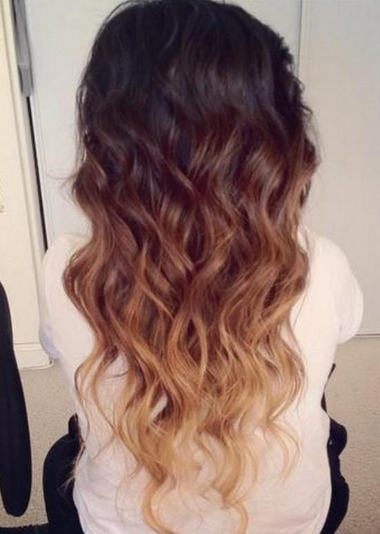 Brown Ombre Hair: Brown to Blonde Wavy Dip-Dye Cascade
