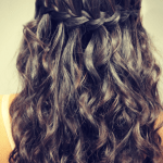 Back view of waterfall plait waterfall braid