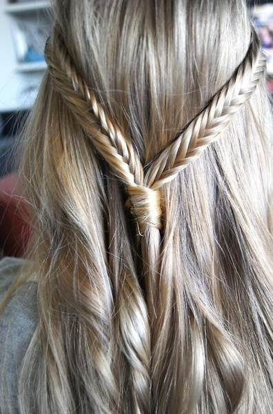 Back View of Braid Hair Ideas Silky Fishtail Band & Twisty Tresses