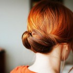 Back View of Easy Red Gibson Tuck Updo