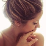 High Messy Chignon with Highlights for Girls