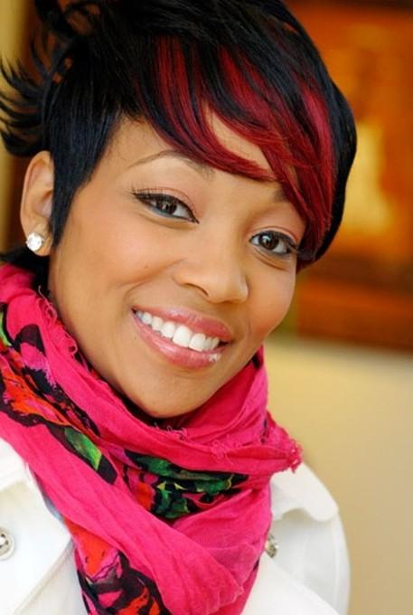 Short Black Red Haircut for Black Women