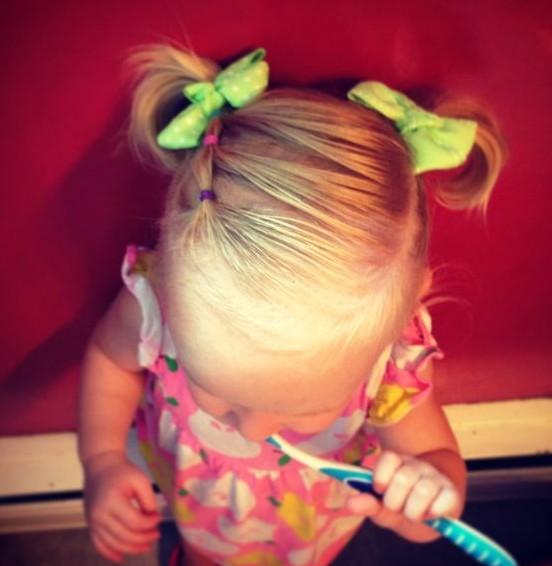 Simple Variation on Pigtails for Toddler Girls
