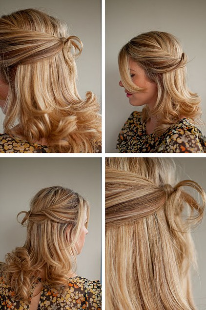 Twisted Half Up Half Down Hairstyle for Wedding