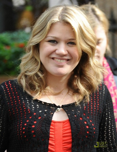 Shoulder Length Curly Hairstyle for Round Faces - Kelly Clarkson Hairstyles