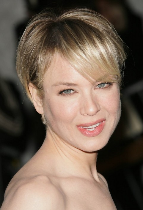 Short Boy Cut with Bangs for Round Faces - Renee Zellweger Short Haircut