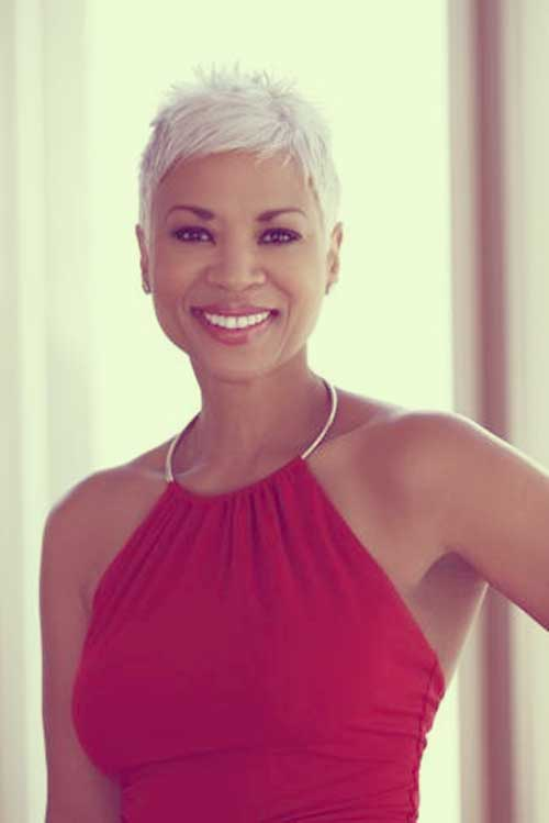 Black Women with Short White Pixie Haircut