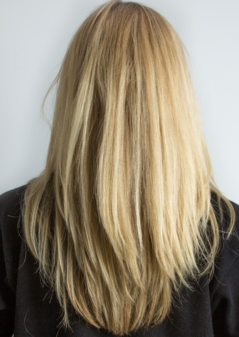 Long straight golden blonde with long razor textured layers hairstyle