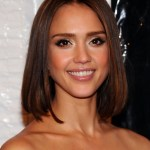 Actress Jessica Alba Medium Straight Bob Haircut