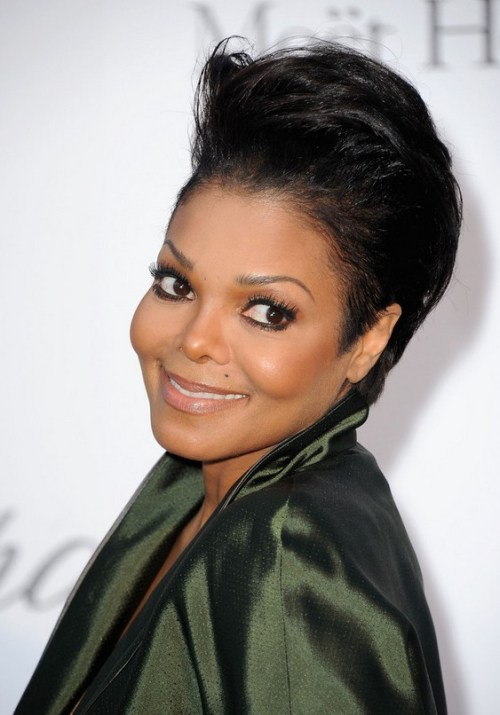 Janet Jackson Short Formal Straight Hairstyle for Black Women
