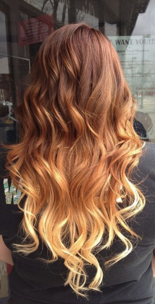 Pretty Brown to Blonde Ombre Hair with Waves for Women