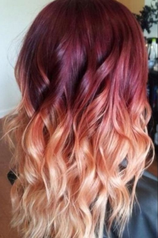 Red to Blonde Ombre Hair with Waves - Ombre Hair Color Ideas