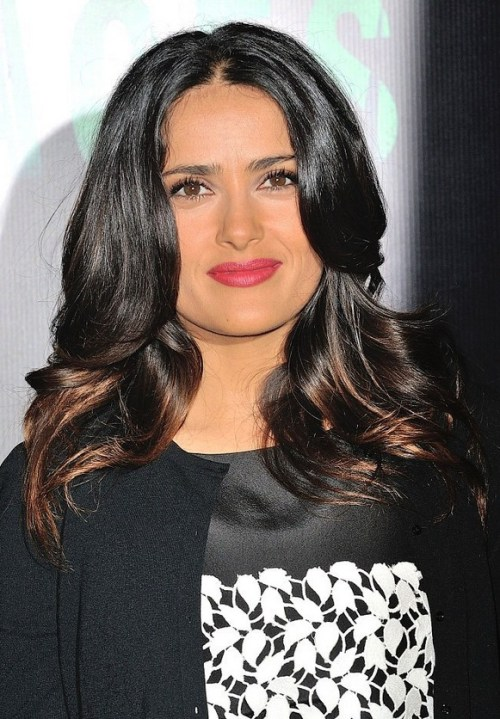 Salma Hayek Long Layered Wavy Hairstyle for Round Faces