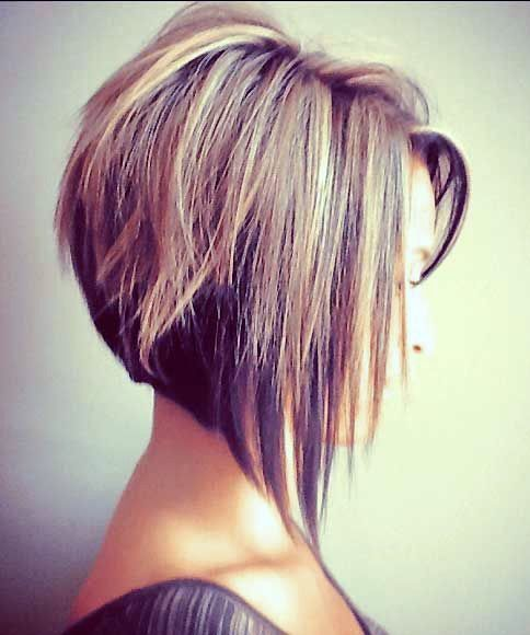 Side View of Angled Bob Hairstyle