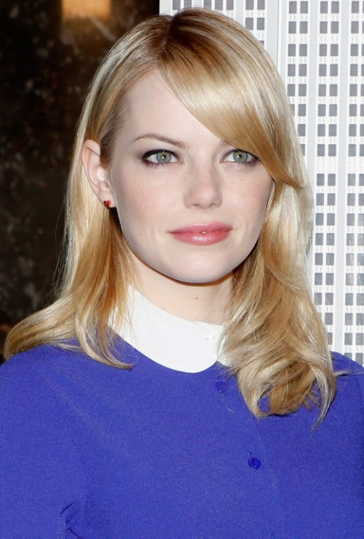 Emma Stone Simple Easy Shoulder Length Hairstyle with Bangs