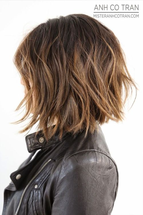 layered messy bob hairstyle