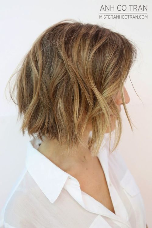 side view of layered short bob haircuts