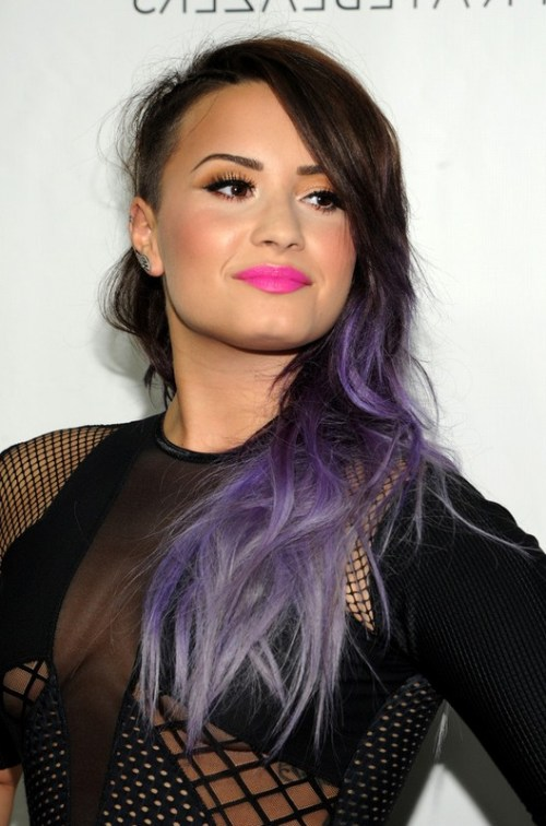 Demi Lovato Side Swept Brown to Purple Ombre Hair for Winter