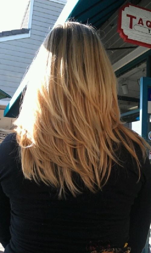 Back view of medium straight hairstyle