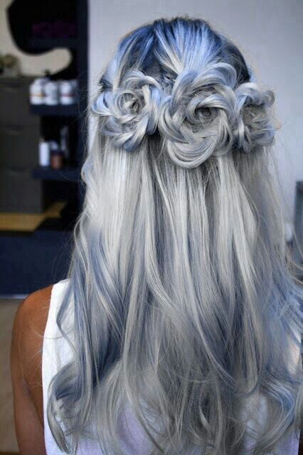 Blue grey hair