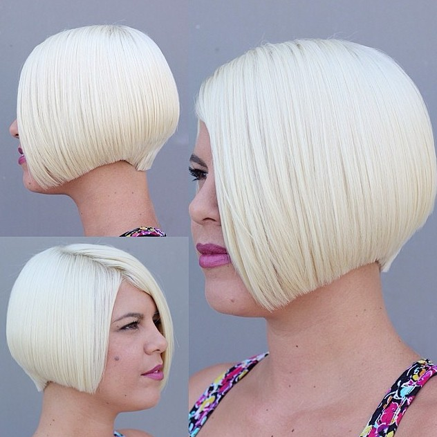 Cool Short Straight Blonde Bob Hairstyle