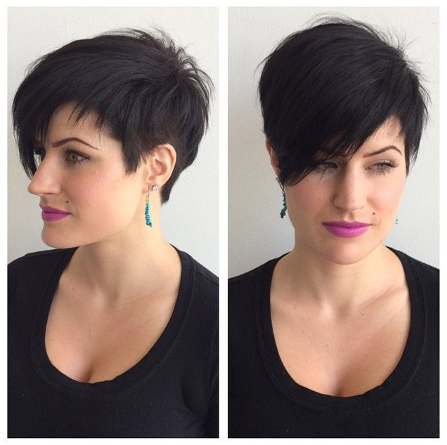 Cool Stylish Short Black Hairstyle with Long Side Swept Bangs for Spring