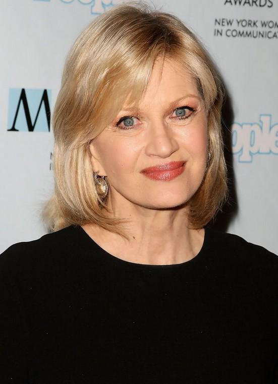 Diane Sawyer Medium Layered Hairstyle for Women Over 50