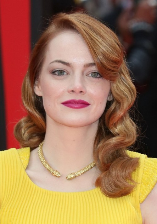 Emma Stone Retro Hairstyle with Bangs