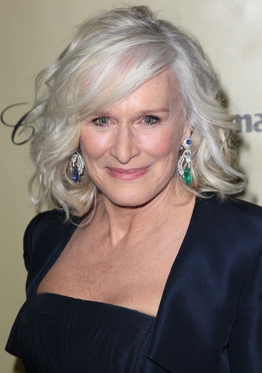 Glenn Close Medium Blonde Wavy Curly Hairstyle for Women Over 60