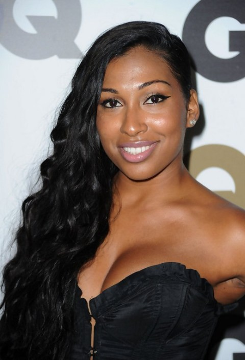 Melanie Fiona Deep Side Parting Long Black Curly Hairstyle for Black Women