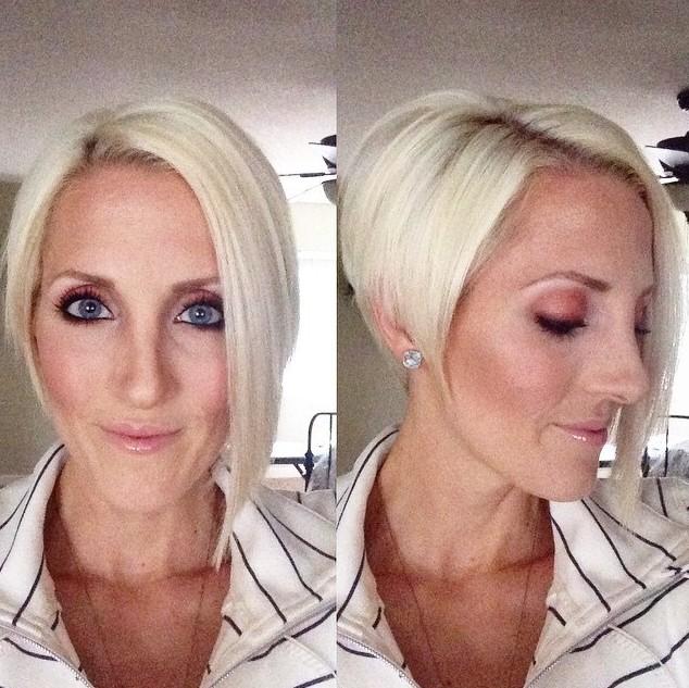 Short Angled Bob Haircut for Women Over 50