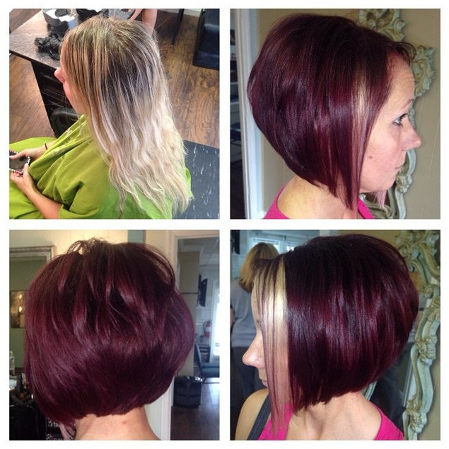 Trendy Short Red A-line Bob Haircut