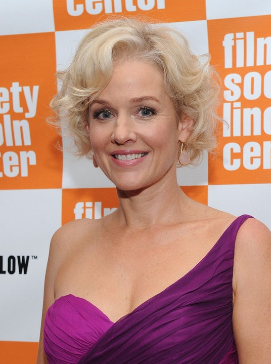 Penelope Ann Miller Short Blonde Curly Hairstyle for Women Over 50