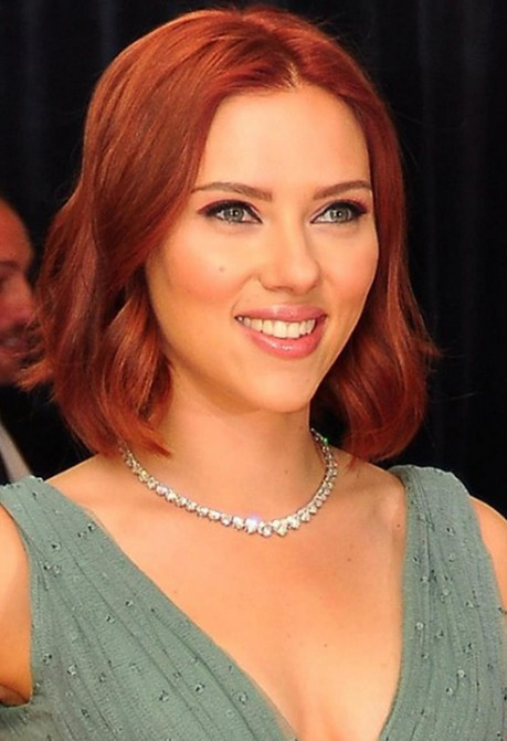 Scarlett Johansson Short Red Bob Hairstyle with Waves