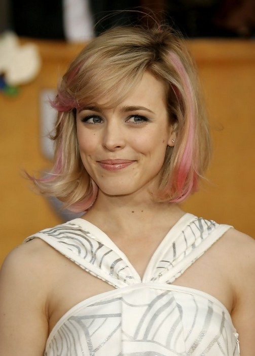 Chic Messy Short Cut With Pink Highlights From Rachael