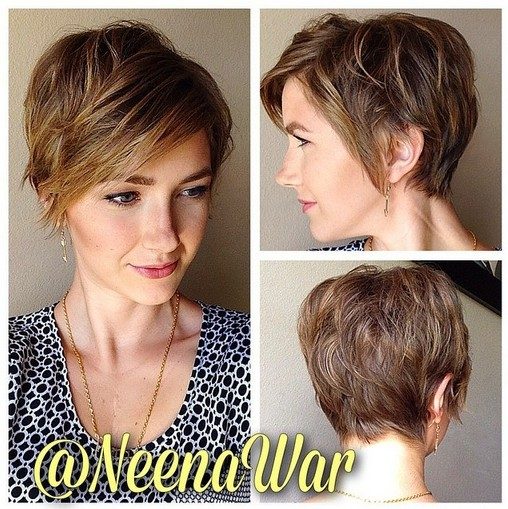 Layered pixie cut with long bangs