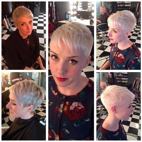 Short feminine blonde pixie cut for fine hair